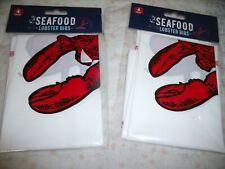 NEW 8 PLASTIC LOBSTER BIBS 2 Pkgs Of 4 Clambake Picnic Seafood Feast