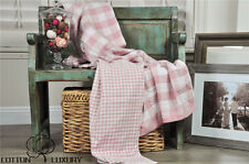 New 100% Cotton Blanket Throw, Woven, Triple Layers, REVERSIBLE Peach Pink
