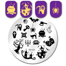 Round Nail Stamping Plates Halloween Spider Ghost Manicure Nail Art Image Plates