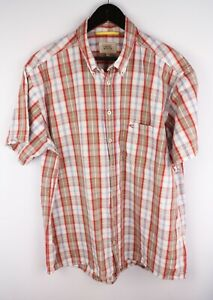 Camel Active Men Casual Shirt Short Sleeves Check Red Cotton size XL