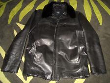 HUGO BOSS Chiron Herren Mantel schwarz Lederjacke Leder Jacke 48 mit Pelzkragen