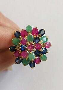 14k Solid Yellow Gold Cluster Ring With Mixed Stone Ruby Sapphire Emerald 4.13GM