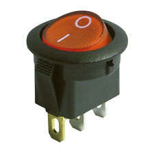 Wippenschalter rund 3 Polig beleuchtet 250V 6A Ein/Aus 20mm Wippschalter Schwarz
