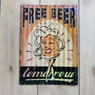 """Free Beer Tomorrow Pitcher Sign Corrugated Steel Metal """"Aged"""""""