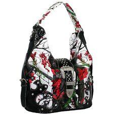 Camo Buckle western Rhinestone Hobo Purse Handbag