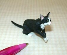 Miniature Sitting Black Cat w/White SOCKS, PAW LIFTED: DOLLHOUSE Miniatures 1:12