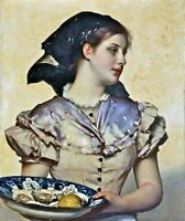 Nice Oil painting female portraits - Carl Gussow The oyster girl Hand painted