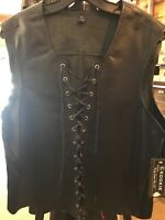 NWT Leather Front Lace Up Tank Gladiator Renaissance 4XL Black