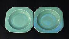 2 Art Deco Homer Laughlin Pottery Green Riviera Soup/Salad Bowls Fiesta Colors