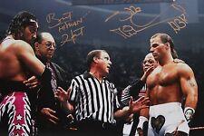 WWE HBK Shawn Michaels & Bret Hart Signed Iron Man WM12 Photo autograph JSA COA
