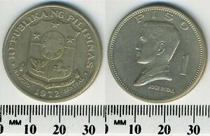 Philippines 1972 -  1 Piso Copper-Zinc-Nickel Coin - Jose Rizal - Shield - #2