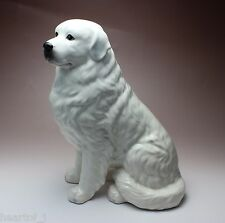 """11""""H Sitting Great Pyrenees Solid White Porcelain Figurine Dog Statue New Japan"""