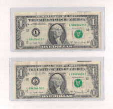 Lot of 2 1977 A $1 One Dollar Note Bill Error Offset Consecutive Vf Xf C19