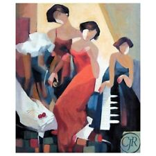 """Yunessi S/N Giclee on Canvas """"Musical Trio"""""""
