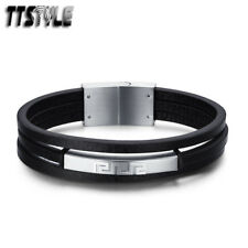 TTstyle Black Leather 316L Stainless Steel Greek Key ID Bracelet Wristband