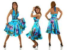 Geblümte knielange Damenkleider mit Neckholder aus Polyester