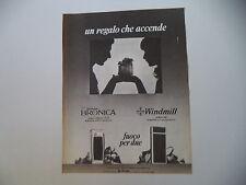 advertising Pubblicità 1981 ACCENDINO BRONICA/WINDMILL