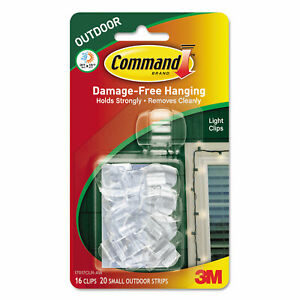 Command All Weather Hooks and Strips Plastic Small 16 Clips & 20 Strips/Pack