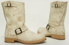FRYE VERONICA SHORT SHORTIE WHITE CRACKED LEATHER BOOTS SHOES 7 $267