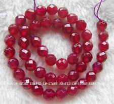 8mm Rose red Agate Faceted Round Loose Beads Stone 15""