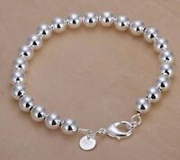 925 Sterling Silver Layered CLASSIC HOLLOW BALL BEAD BRACELET 8MM ROUND BEADS