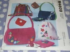 McCALL'S 4609 GIRLS  ACCESSORIES BACKPACKS BAGS PURSE PATTERN-UNCUT