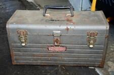 Vintage Craftsman Metal Steel Portable Toolbox with Top Shelf