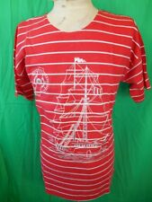Vintage 80s Red White Striped Sailing Ship Print PolyCotton Summer Top T-shirt S