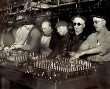 1941 Original Photo Blind Handicap workers at Ford Motor Co. valve assembly WW2