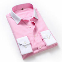 New casual men thin stripe white collar shirt 3 color 5302