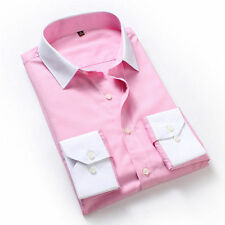 Mens Long Sleeves Shirts Solids Business Work Slim Formal Dress Multicolor 5302