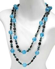 STUNNING GENUINE ONYX AND FRESHWATER PEARL BLUE GEMSTONE NECKLACE LONG 54""