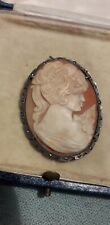 Silver 800 Cameo Shell Lady Pendant Brooch Marcasite Set