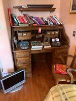Stuart American Oak Rolltop Desk