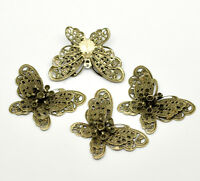 20 Bronze Tone Filigree Butterfly Charm Pendants Embellishments Findings 43x32mm