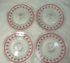 """4 Park Lane Ruby Flash Accent INDIANA GLASS/COLONY 8.5"""" DESSERT/SALAD PLATES"""