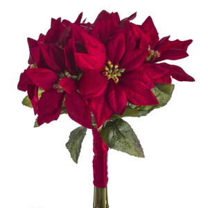 Artificial Red Poinsettia Bunch - 9 Stem Christmas Flowers