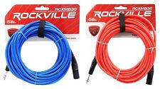 2 Rockville 30' Male REAN XLR to 1/4'' TRS Balanced Cable (Red and Blue)