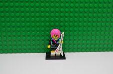 Genuine Lego minifigures Series 7 Rock Guitarist Girl Punk Rocker with base