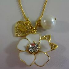 Juicy Couture Golden White Floral Pears Heart Pearl Pendant Necklace