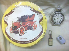LOT4 MEN AVON ALARM CLOCK AFTER SHAVE, INSULATOR, LIQUOR BOTTLE, ANTIQUE CAR TIN
