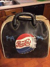 """Vintage Pepsi Cola Leather Bowling Ball Bag """"Rare"""" Pepsi Collectible Genuine"""