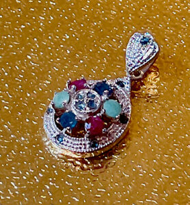New Genuine Ruby-Emerald-Blue Sapphire With Sterling Silver Rhodium Over Pendant