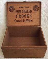 Vintage Morris King's Rum Soaked Crooks Wood Cigar Box Tax Stamp Wine Cured