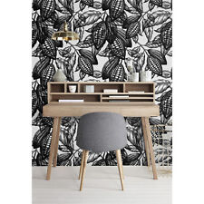 Botanical Tropical Design Black and White Leaves Fruit Cocoa Wall Mural