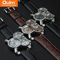 OULM Men's Sports Skeleton Quartz 3 Movements Leather Brand Army Wrist Watch