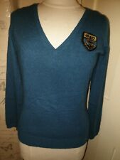 Joules waffle V Neck Knitted Jumper Size 12  Blue/green/teal 100% cashmere Wool