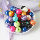 4mm 6mm 8mm 10mm 12mm Mixed Glass Pearl Wrinkle Round Ball Spacer Beads Charms