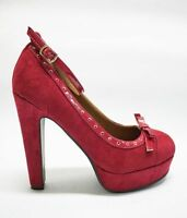 Ana Lublin Ankle Strap Platform Heels Suede Leather Bordo Red Size 38 39 40 41