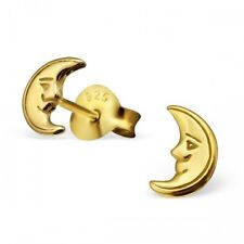 Sterling Silver 925 Gold Crescent Moon Stud Earrings